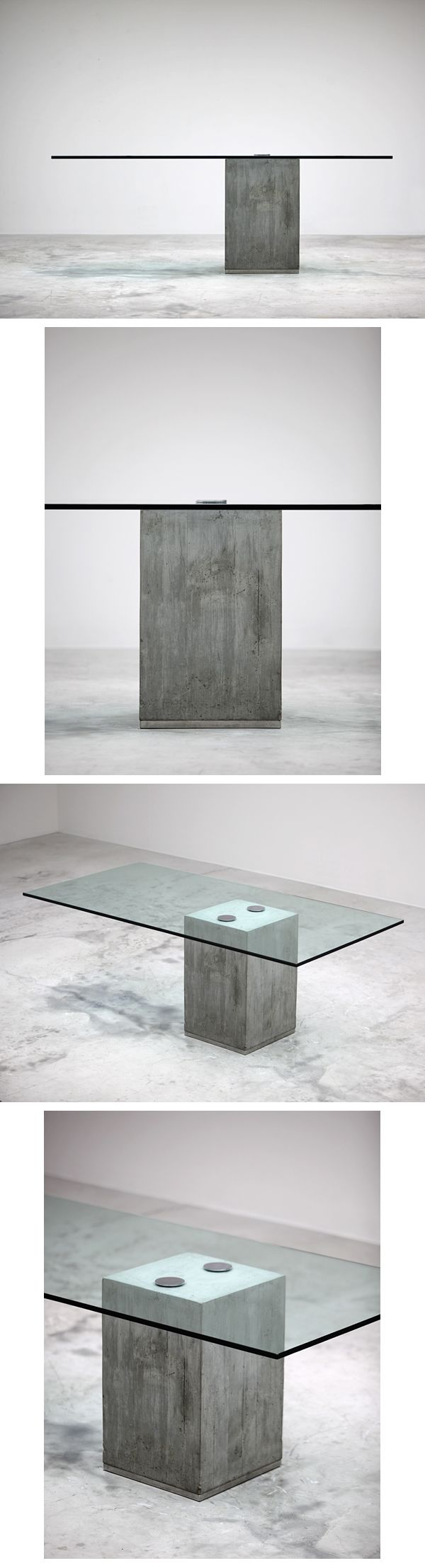 SERGIO AND GIORGIO SAPORITI dining table.     Italy, c. 1970-80  cast concrete, glass, chrome-plated steel, stainless steel  78.25 w x 39.25 d x 28.75 h inches