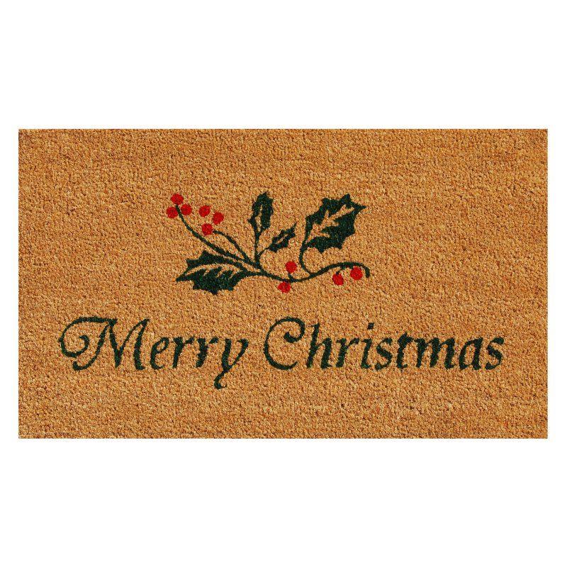 Home & More Christmas Holly Outdoor Doormat Outdoor door