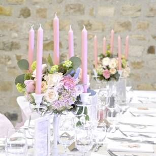 Chandelier Fleuri Mariage Romantique Poudre Decoration