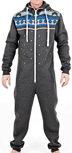 5fb05767fb SkylineWears Men s Fashion Onesie Hooded Jumpsuit One Piece non Footed  Pajamas Bodysuit Playsuit Medium Charcoal SkylineWears