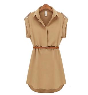 Women's Short Sleeve Shirt Dress
