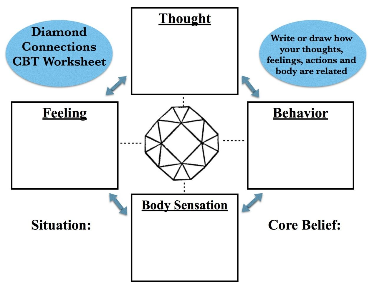 """Workbooks trauma focused cbt worksheets : Creative Social Worker — CBT """"Diamond Connections"""" Worksheet: This ..."""
