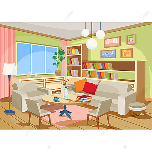 Vector Illustration Of A Cozy Cartoon Interior Of A Home Room A Room Clipart Interior Room Png And Vector With Transparent Background For Free Download Interior Decorating Pictures House Rooms House