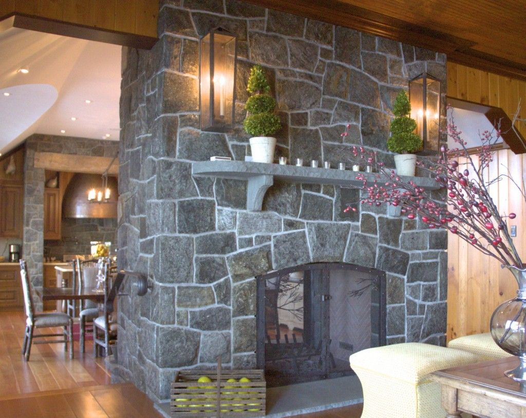 Furniture Stone Fireplace WIth Wall Sconces Symmetric Decoration