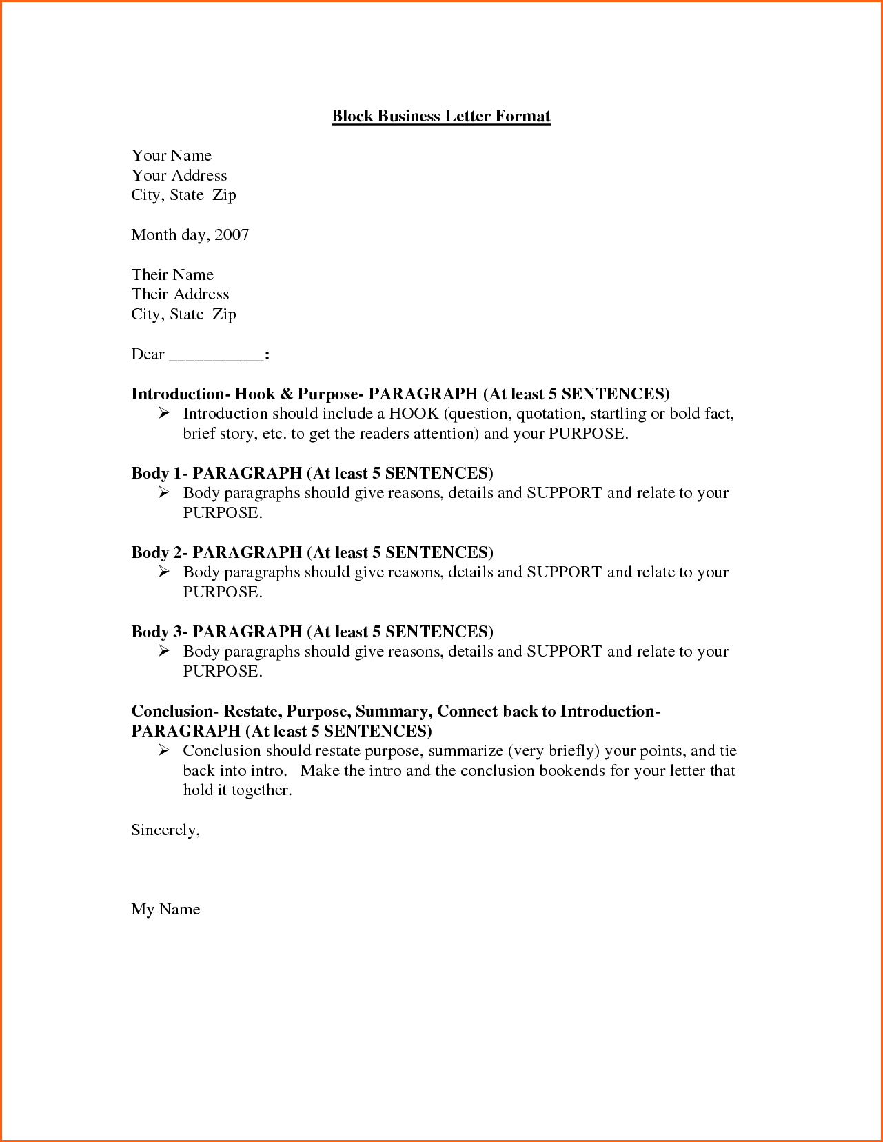 Business Letter Block Format Example Full Jpg Style Contract