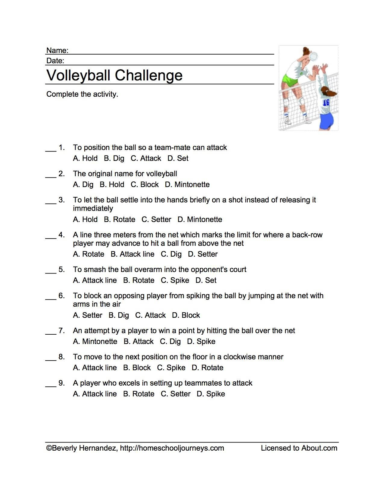 Volleyball Printables