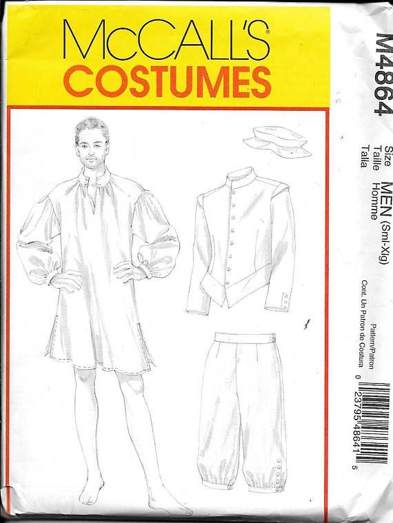 M4864 Mens Colonial poeta camisa pantalones traje costura | patrones ...