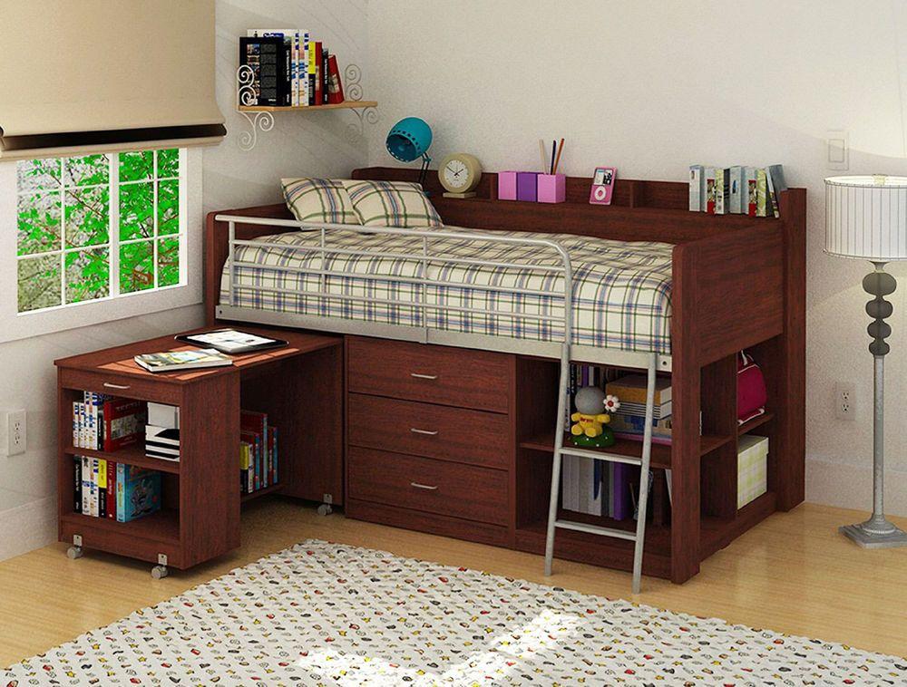 Loft Bed Twin Bedroom Kids Bunk Furniture Ladder Over Desk Dorm Storage Wood Distribucion De La Habitacion Muebles Habitacion Decorar Habitacion Ninos