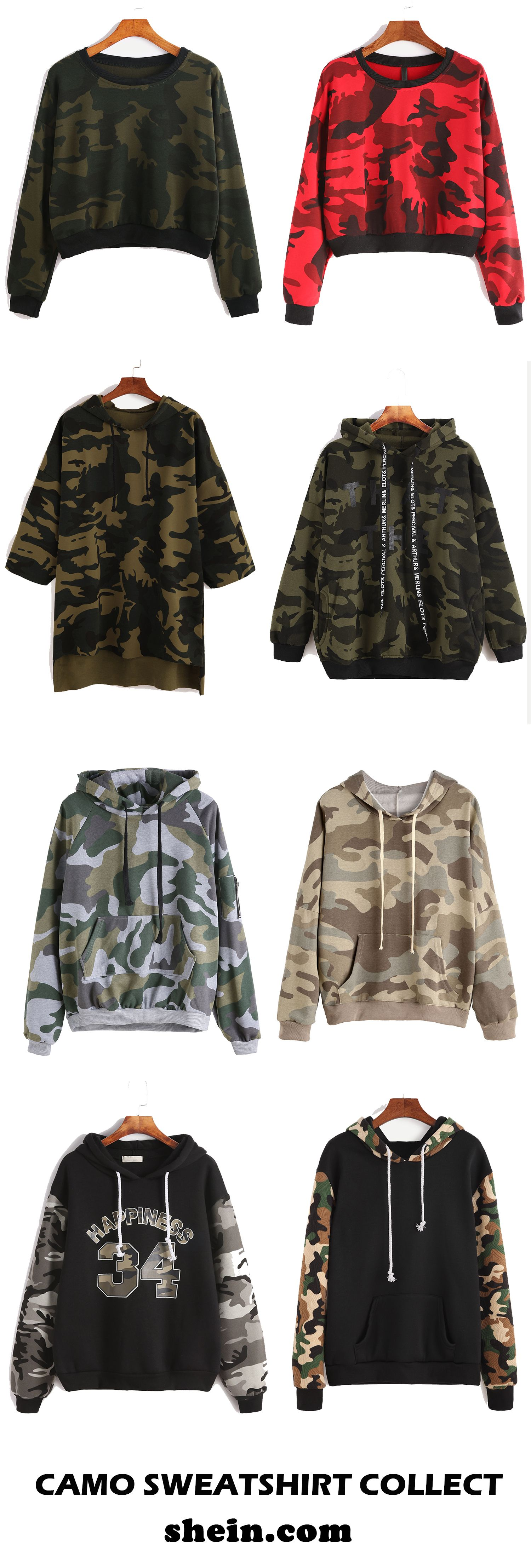 Camo sweatshirt collect for women. Start from $11.9.
