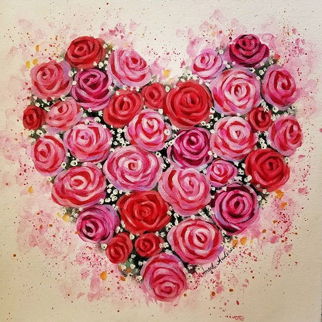 Easy Roses Acrylic Painting Tutorial By Angela Anderson On YouTube Valentinesday Heart Acrylicpainting