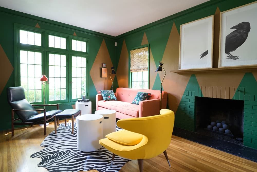 Handpainted Walls Colorful Furniture An Orange Stove And More An Old Renovated House Is The Cure For Boring Homes In 2020 Narrow Living Room Living Room Room