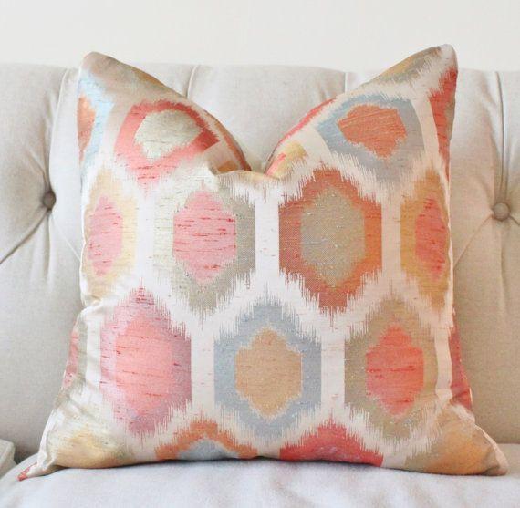 Designer Ikat Pillow Salmon Peach Blue Purple Gold Orange Green