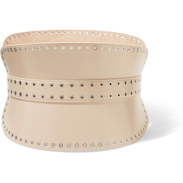 Eyelet-embellished Leather Waist Belt - Cream Alexander McQueen 4uccSN