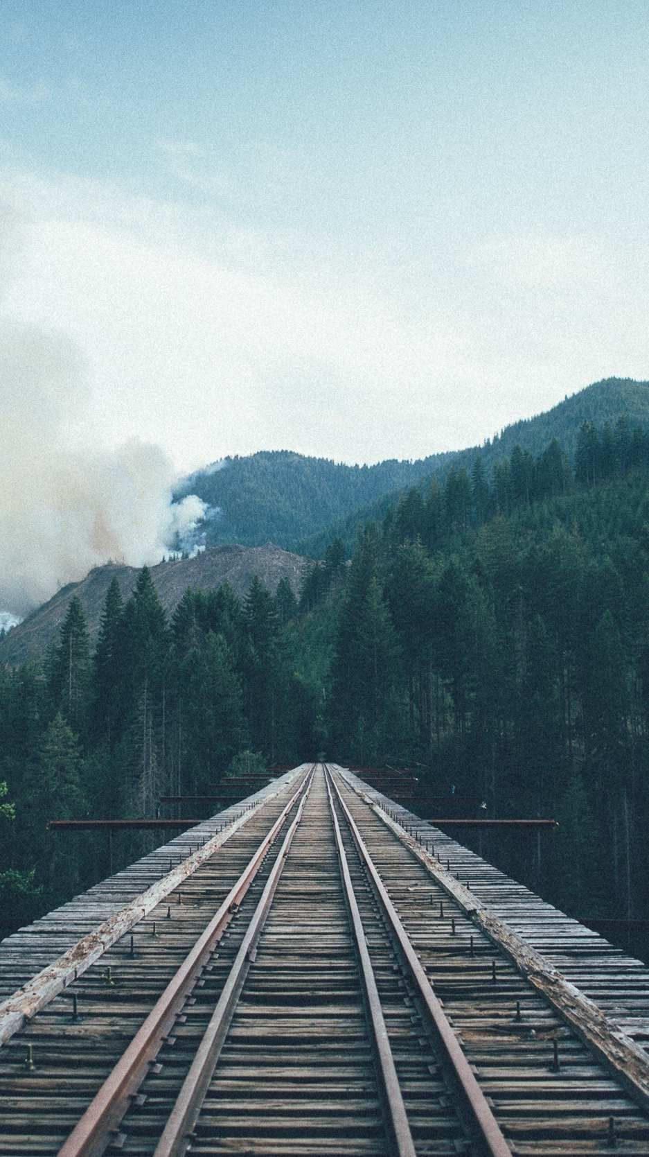 Train To Forest Railway Tracks Forest Mountains Wallpaper Iphone