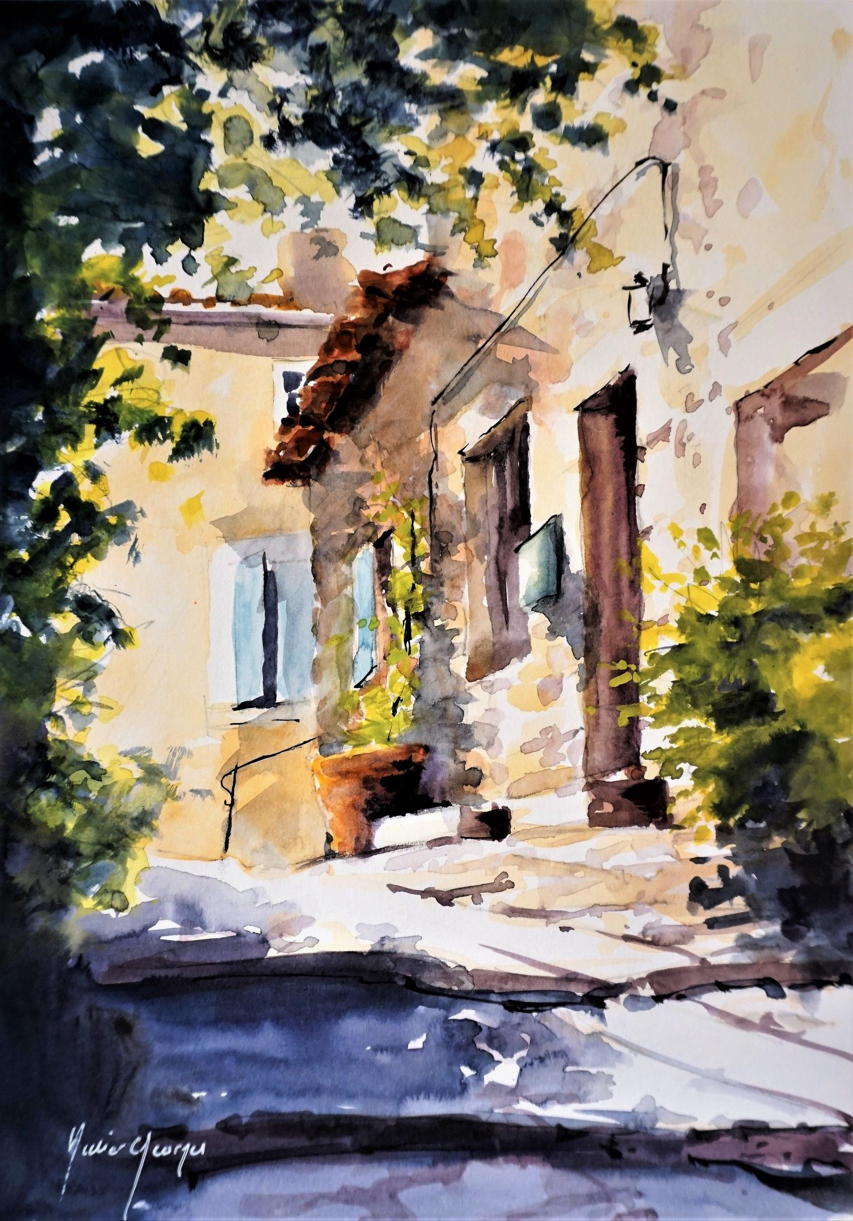 watercolor by didier georges aquarelle en provence lub ron dikmen pinterest vaucluse et. Black Bedroom Furniture Sets. Home Design Ideas