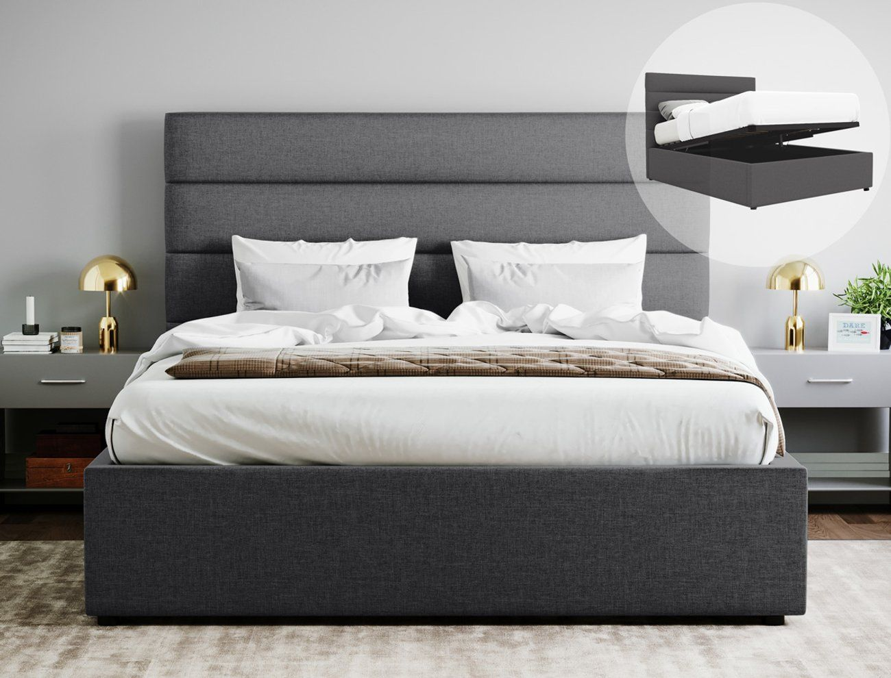 Queen Size Gas Lift Fabric Bed Frame Benny Collection Charcoal Fabric Bed Frame Lift Storage Bed Bed Frame With Storage