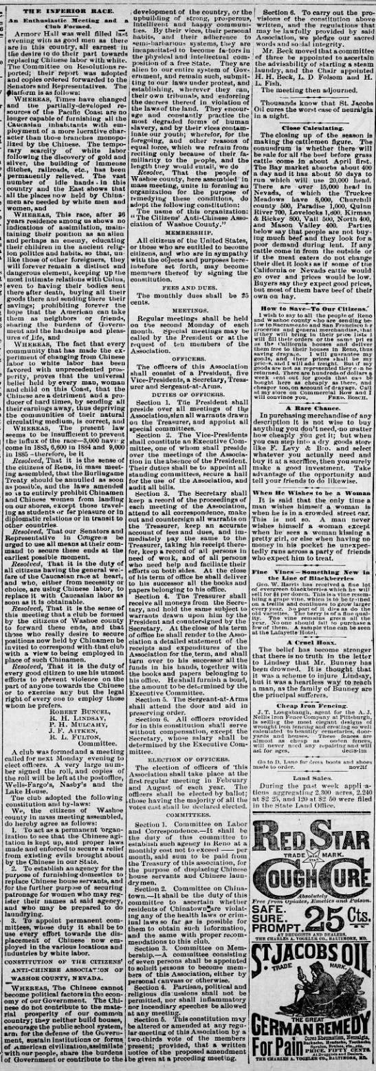 Reno Gazette-Journal, 2 Feb 1886, Tue, Main Edition  Robert Buncel is a leader in the Citizen's Anti-Chinese Association of Washoe County