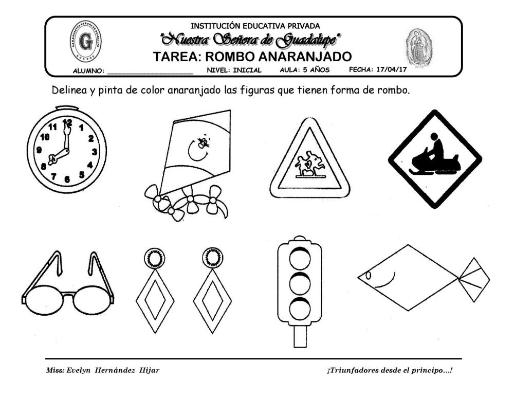 Rombo Tarea Figuras Geometricas Para Preescolar Rombos Actividades Para Preescolar