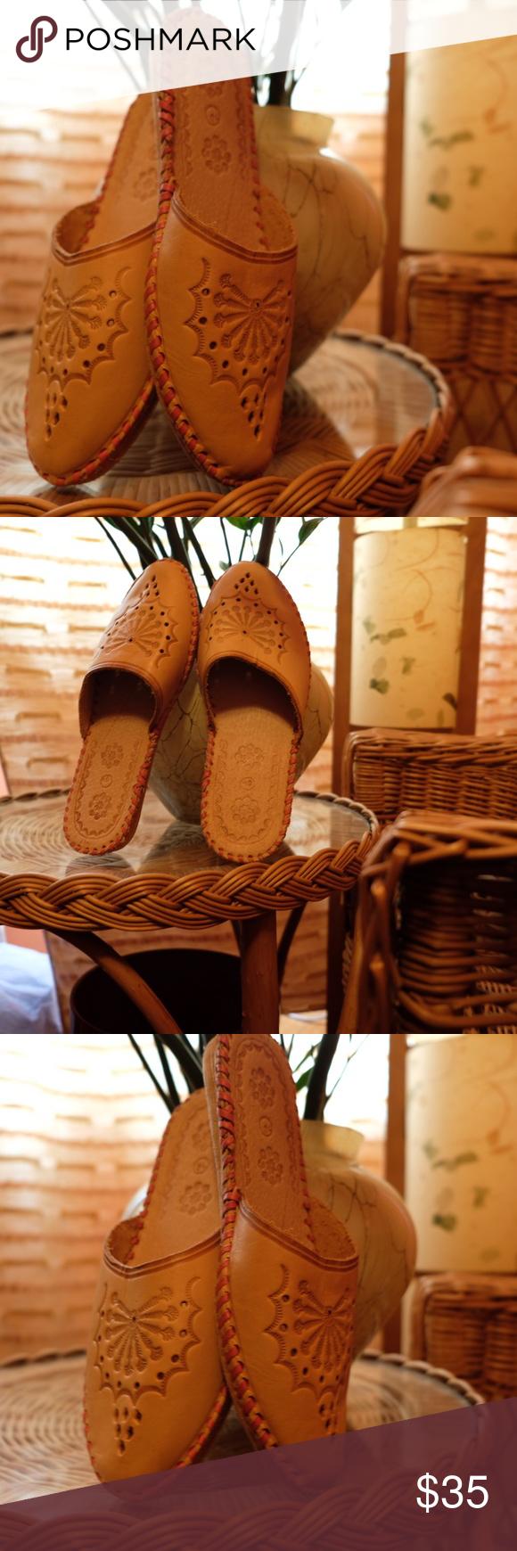 Traditional polish leather slipper on market in Zakopane