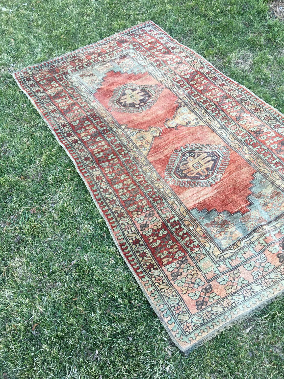 Soft Bright Colors Vintage Turkish Rug Organic Wool High Quality Home Decor Carpet Nursery Entryway Kitchen