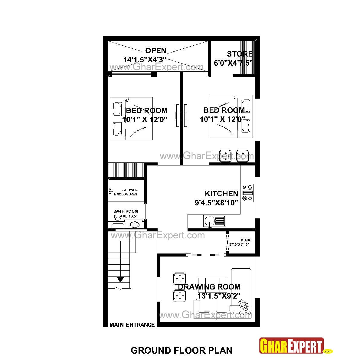 House Plan For 23 Feet By 45 Feet Plot Plot Size 115square Yards Gharexpert Com House Map 20x40 House Plans 2bhk House Plan
