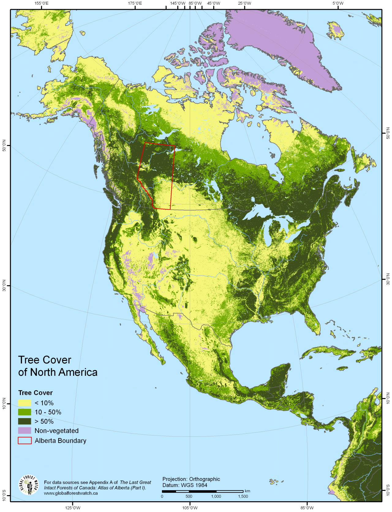 Tree Cover Of North America