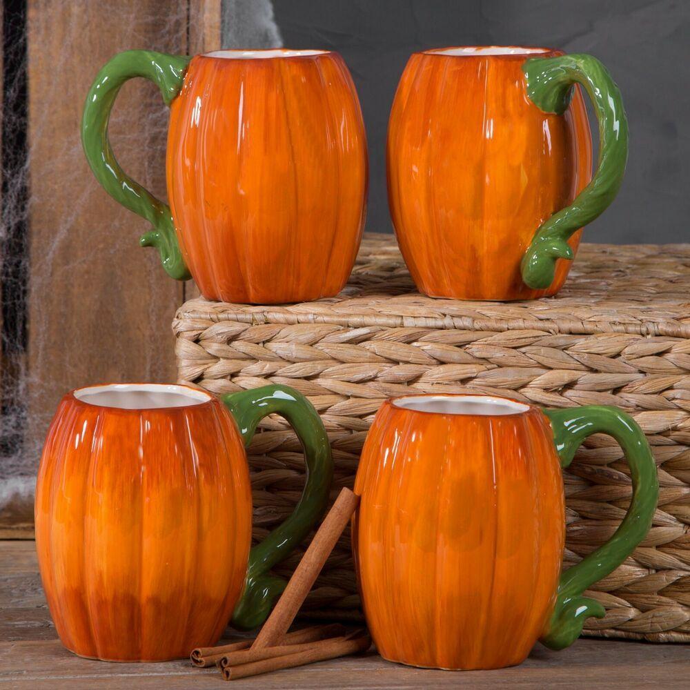 Ceramic pumpkin mug 17 oz set of 4 by home essentials