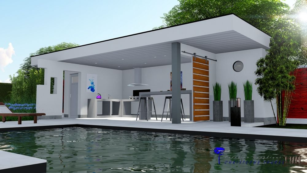 Cuisine d 39 t pool house contemporain toit terrasse conception christophe taurel backyard en - Cuisine d ete design ...