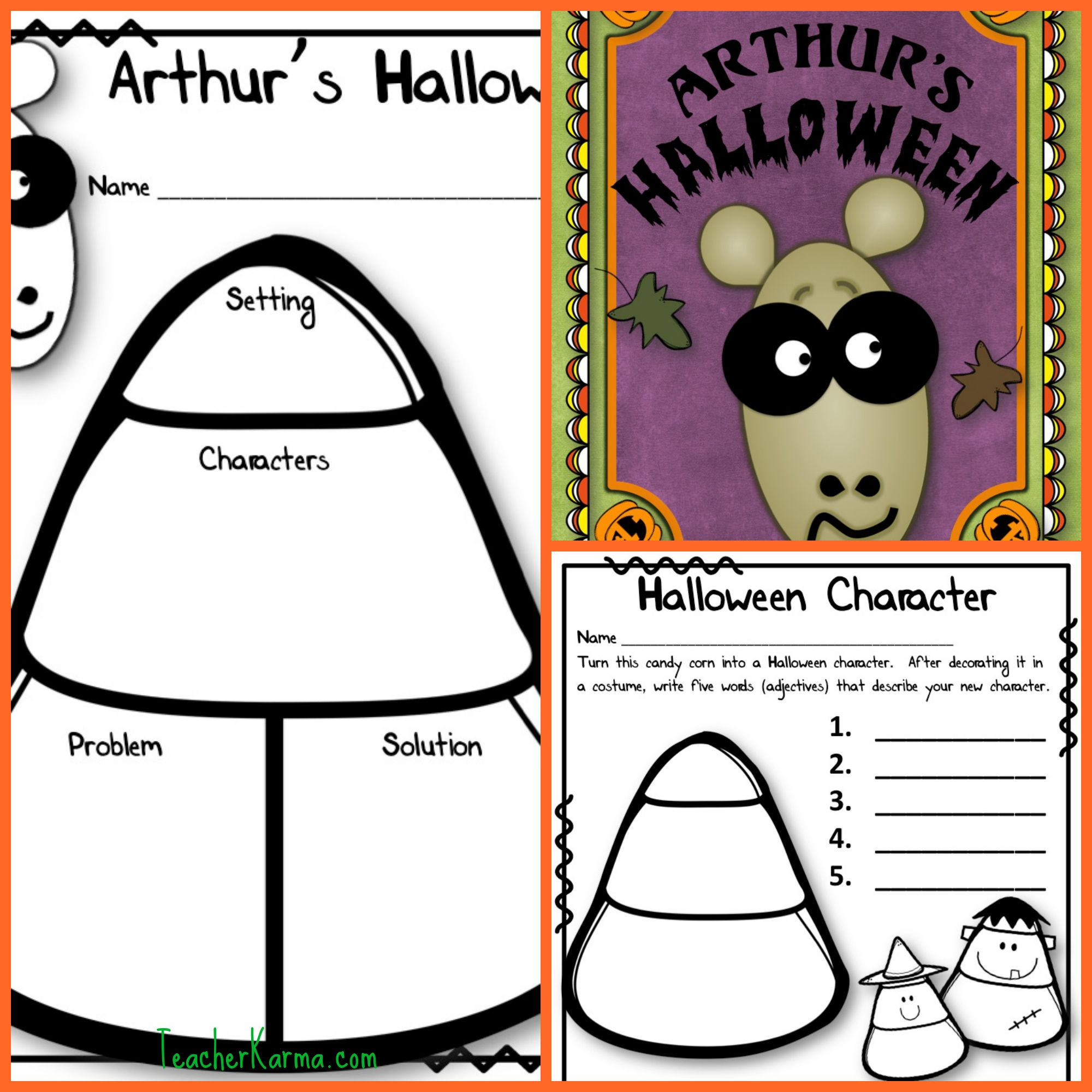 Arthur's Halloween FUN Literacy Kit!  Printables, games, reading activities, comprehension and vocabulary quizzes, YOU WILL LOVE IT!   TeacherKarma.com #arthurs #halloween