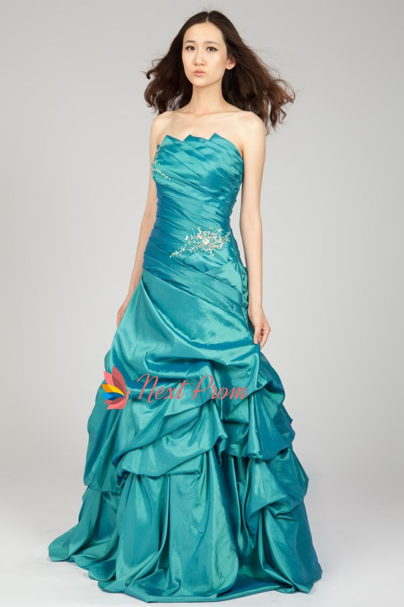 Strapless Beaded Taffeta Prom Dress With Pickup Skirt, Teal Prom ...