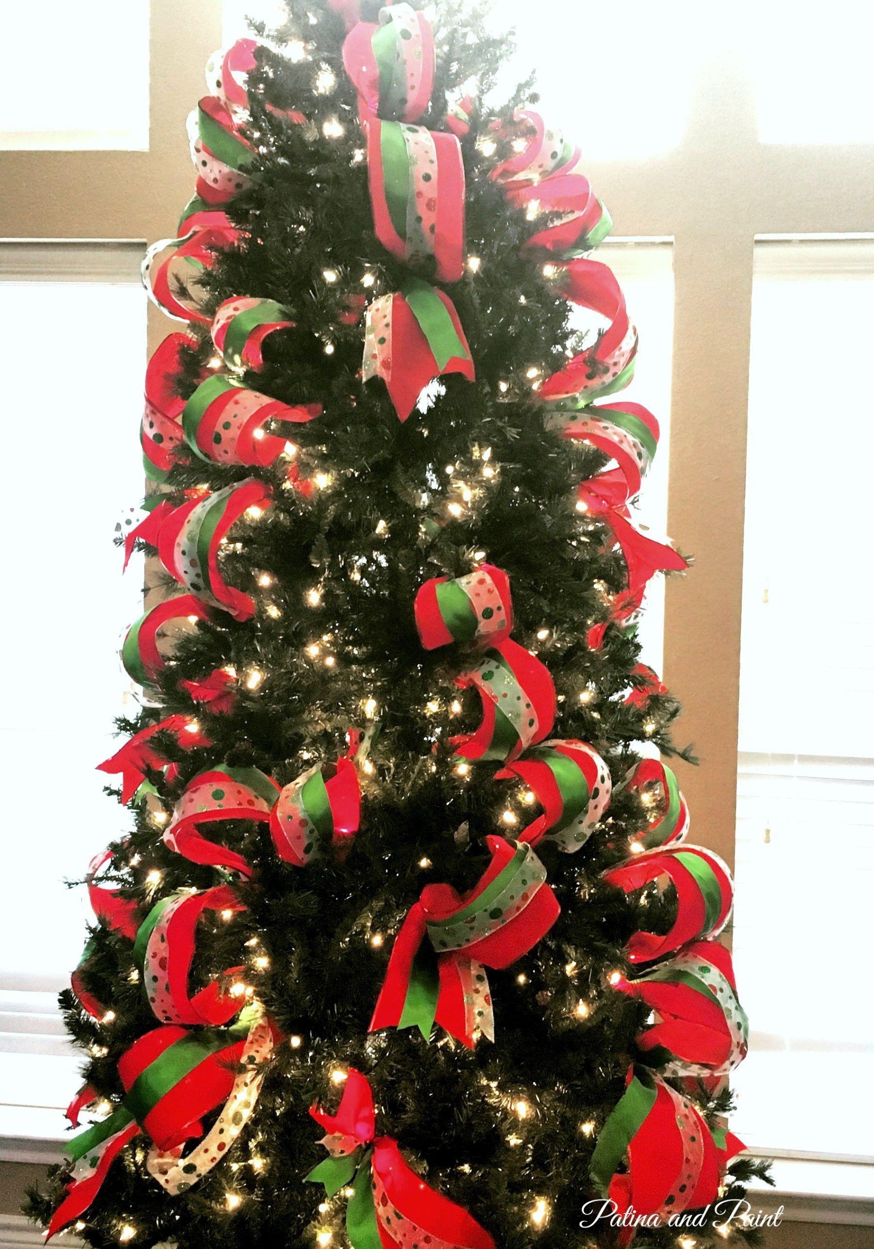 How I Put Ribbon on My Christmas Tree | Outdoor christmas ...