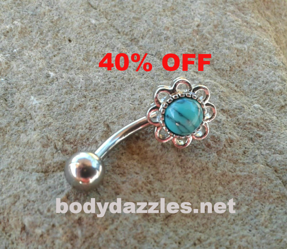 Black around belly piercing  Turquoise Center Flower Belly Button Ring Navel Ring Belly Piercing