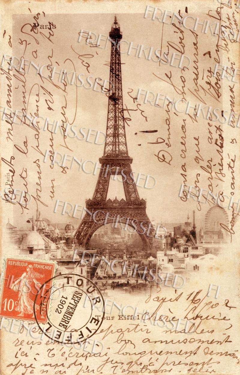 Eiffel tower french script antique 1902 paris souvenir for Paris orange card