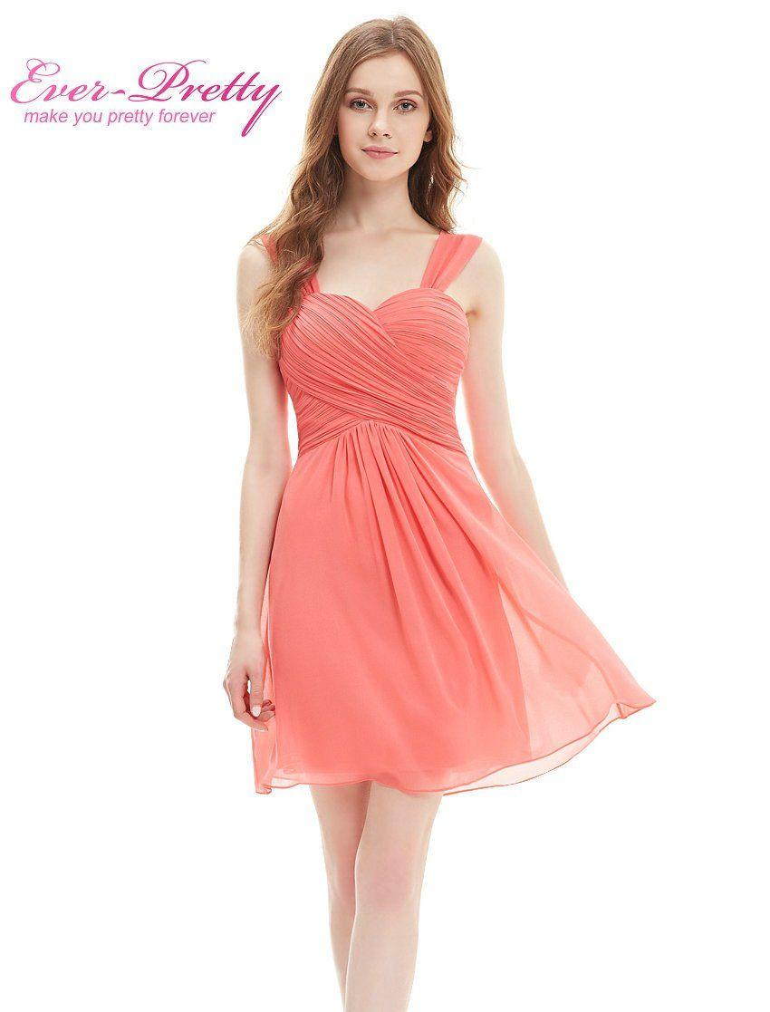 Wedding party dress ep03539 elegant ruffles padded knee length short chiffon coral bridesmaid dress under 100 ombrellifo Gallery