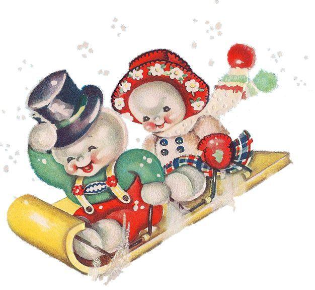 Snowmen Sledding Snowman CardsSnowman ClipartVintage Christmas
