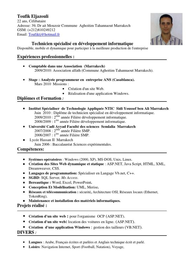 exemple d un cv technicien Telecharger cv