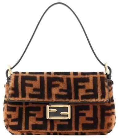 Fendi Baguette fur shoulder bag | Fur shoulder bag, Fendi