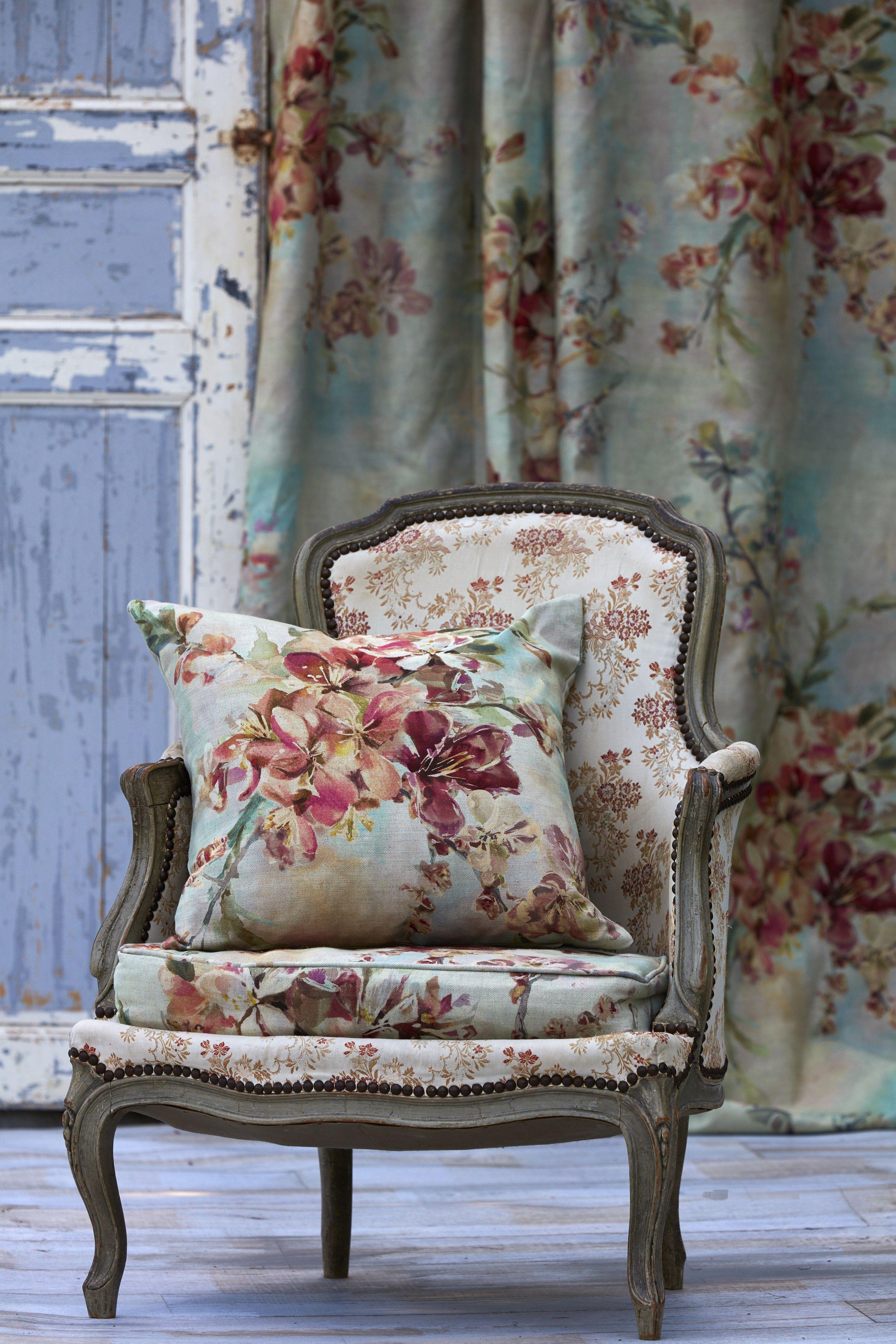Megan Blossom Design By Boeme #floral #fabric #chair #flowers #pretty #