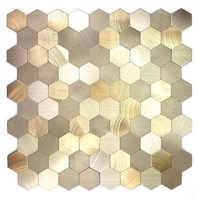 Abolos Enchanted Metals 12 X 12 Metal Peel Stick Mosaic Tile Wayfair Hexagonal Mosaic Peel Stick Backsplash Metal Mosaic Tiles