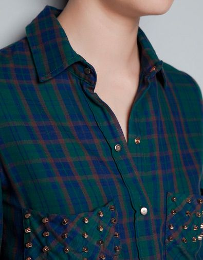 STUDDED CHECKED SHIRT - Shirts - Woman - ZARA 60 euro