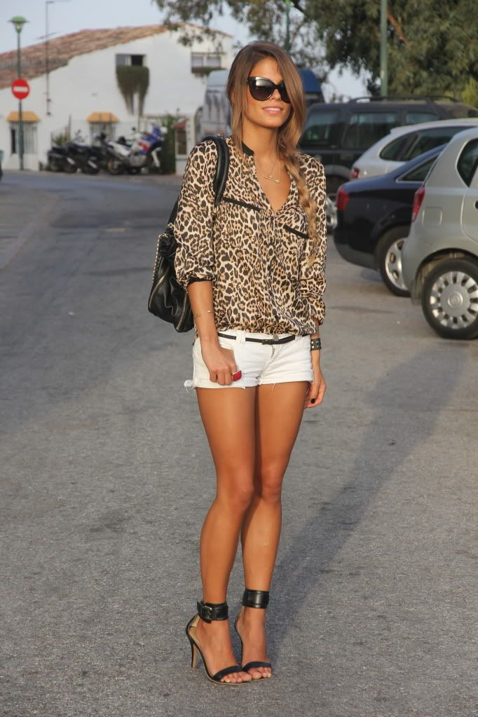 summer outfits womens fashion clothes style apparel clothing closet ideas leopard top white shorts black handbag street