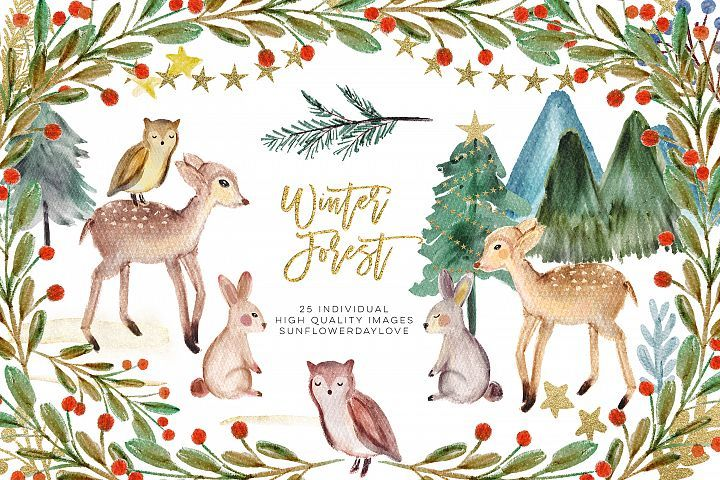 Winter Woodland Animals Clipart, Watercolor Pine Trees