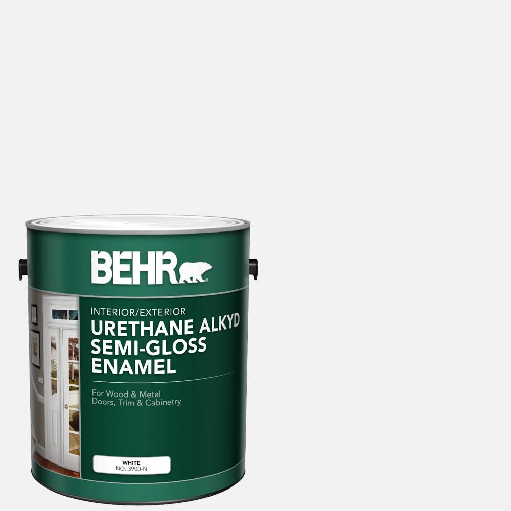 Behr 1 Gal White Urethane Alkyd Semi Gloss Enamel Interior Exterior Paint In 2020 Exterior Paint Interior And Exterior Durable Paint