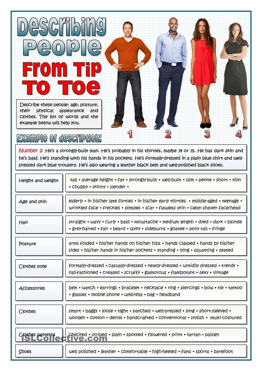 describing people from tip to toe