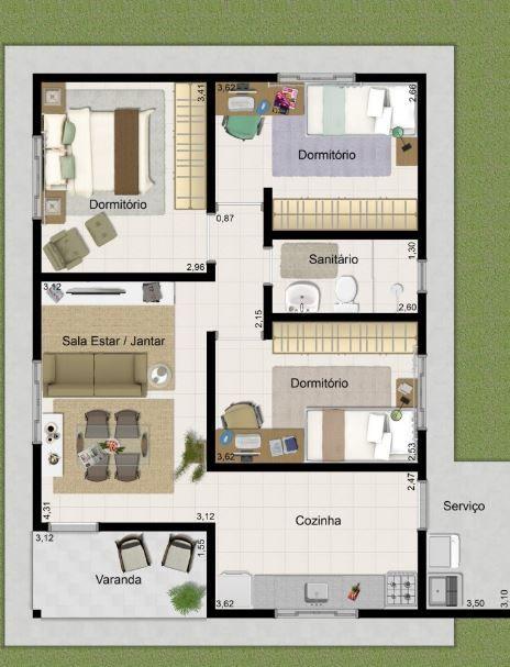 Plano de casa de 3 dormitorios en 50 metros cuadrados 3d for Planos de casas 3d