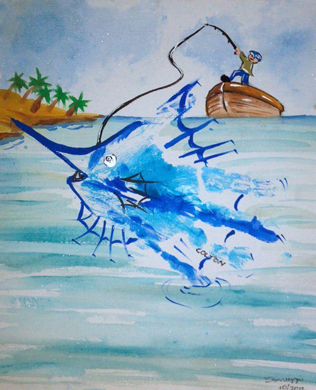 Fishing Handprint. Your custom canvased handprint artwork is available to purchase via PattycakeArt.com or via Etsy (keyword PattyakeArtworks)
