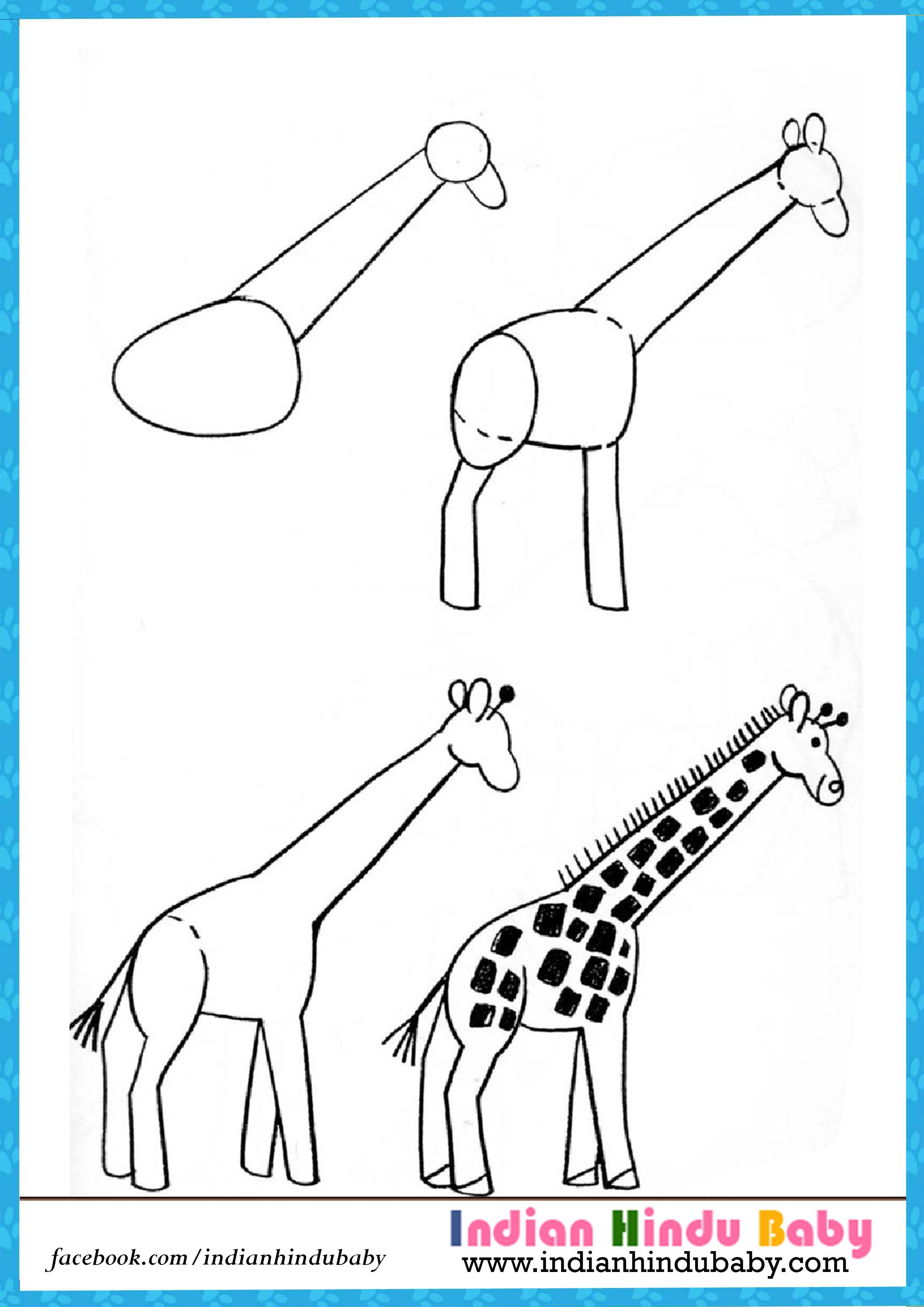 Teach your kid to draw Girrafe with simple drawing tips https