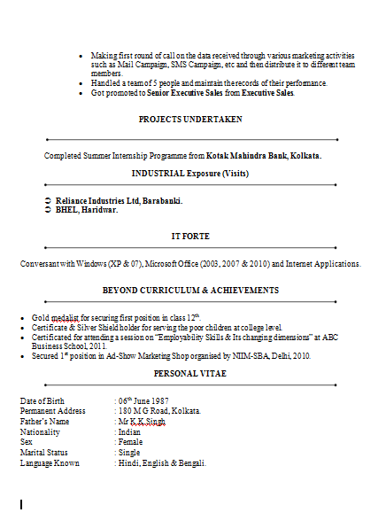Mba Marketing Finance Resume Sample Doc 2 Sample Resume Format Professional Resume Examples Curriculum Vitae Examples