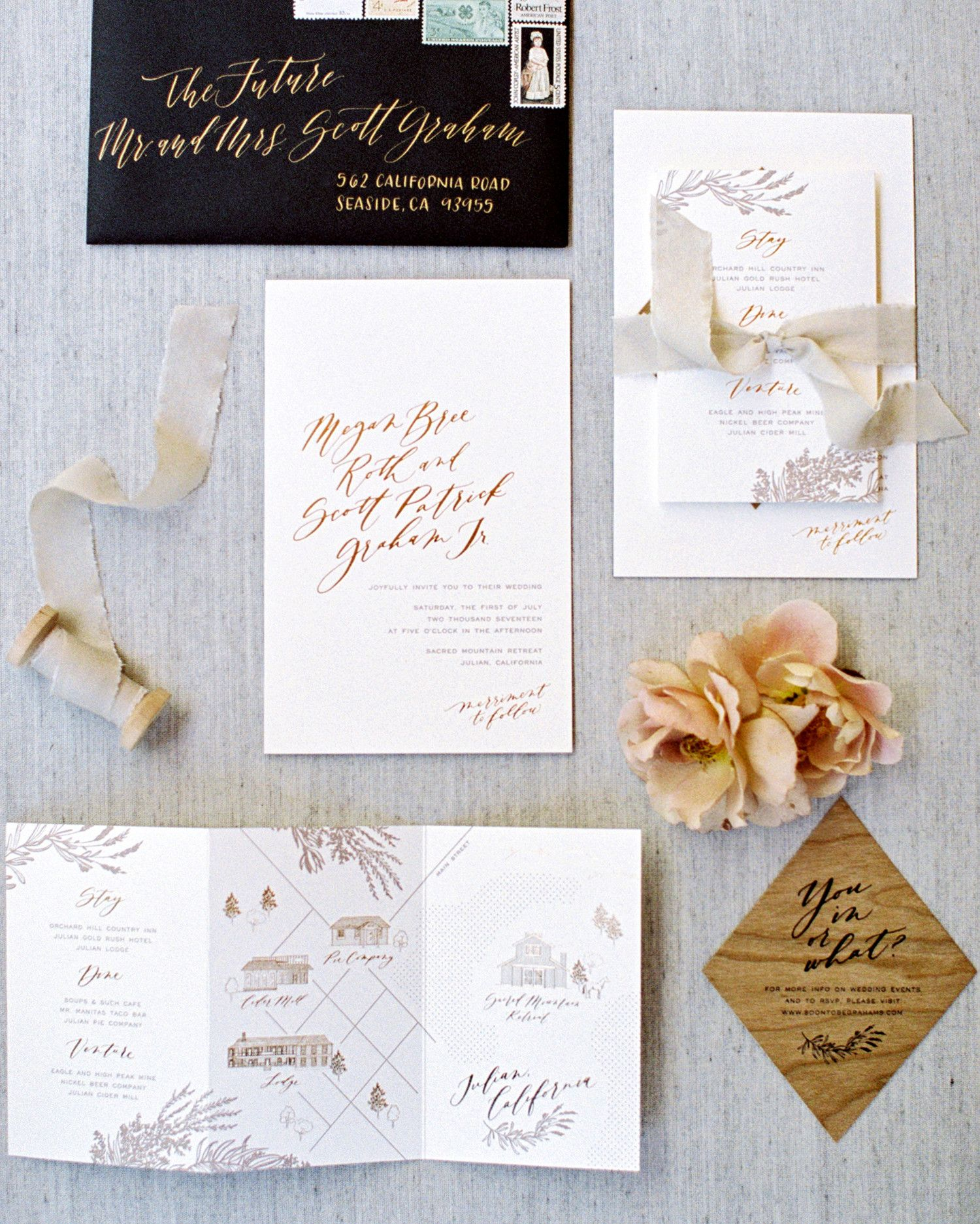 A Graphic Designer At Prim Pixie The Bride Decided To Create Stationery Suite Herself She Went With Letterpressed Taupe Ink Warm Gold Foil