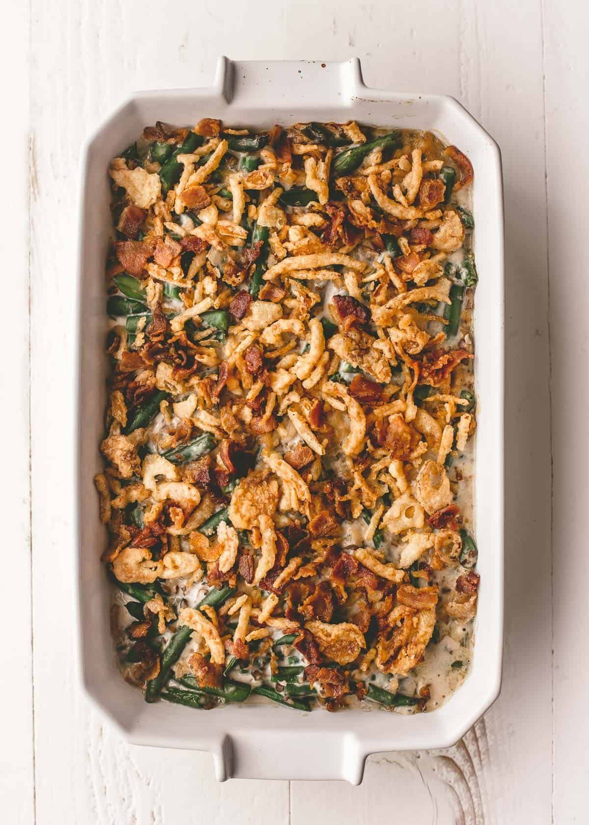 Homemade Green Bean Casserole With Bacon Recipe In 2021 Easy Vegetable Recipes Easy Thanksgiving Recipes Green Beans